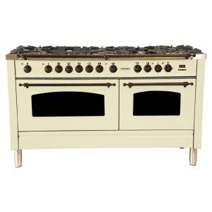 "HALLMAN 60"" Dual Fuel Italian Range, LP Gas, Bronze Trim in Antique White (Antique White)"