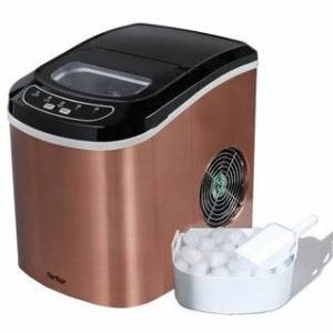 Merax Portable Ice Maker Machine Counter-Top with 26lbs Daily Capacity (Champagne)