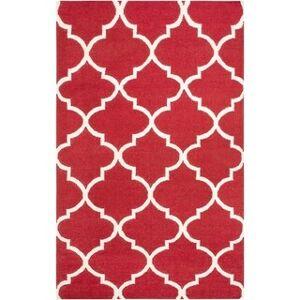 Overstock Hand-Woven Jessica Trellis Reversible Flatweave Wool Area Rug (5' x 8' - Red)