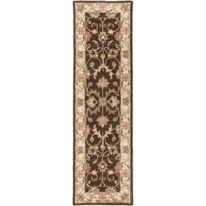 """Overstock Hand-Tufted Ray Traditonal Bordered Wool Rug (2'3"""" x 14' Runner - Brown)"""