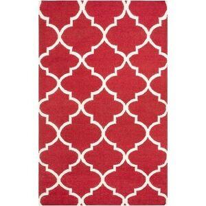 Overstock Hand-Woven Jasper Trellis Reversible Flatweave Wool Rug (4' x 6' - Red)