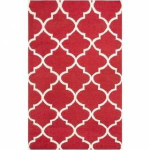 Overstock Hand-Woven Miles Trellis Reversible Flatweave Wool Rug (3' x 5' - Red)