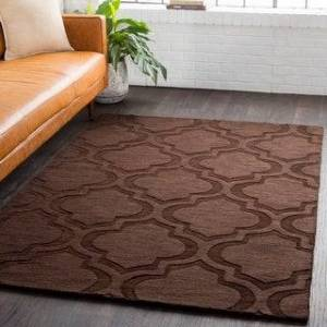 Overstock Hand-Woven Ali Tone-on-Tone Moroccan Trellis Wool Rug (6' x 9') (6' x 9' - Brown)