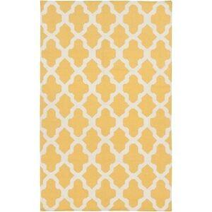 Overstock Hand-Woven Ashley Lattice Reverisble Flatweave Wool Area Rug (5' x 8' - Yellow)