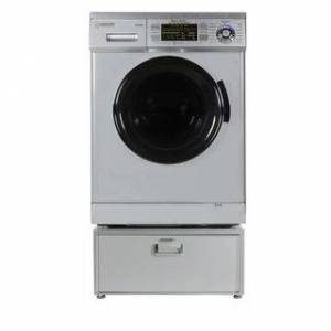 "Overstock Equator EZ 4400 N White All-in-one New Compact Combo Washer Dryer with Pedestal Storage Drawer - 7'10"" x 10'10"" - 7'10"" x 10'10"" (Silver)"