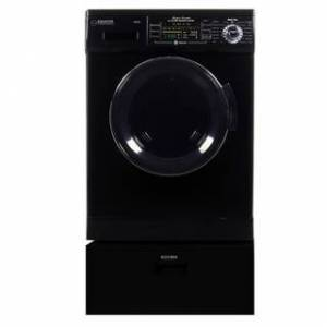 """Overstock Equator EZ 4400 N White All-in-one New Compact Combo Washer Dryer with Pedestal Storage Drawer - 7'10"""" x 10'10"""" - 7'10"""" x 10'10"""" (Black)"""