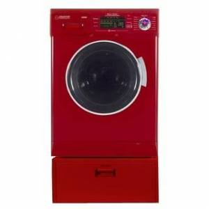 """Overstock Equator EZ 4400 N White All-in-one New Compact Combo Washer Dryer with Pedestal Storage Drawer - 7'10"""" x 10'10"""" - 7'10"""" x 10'10"""" (Red)"""
