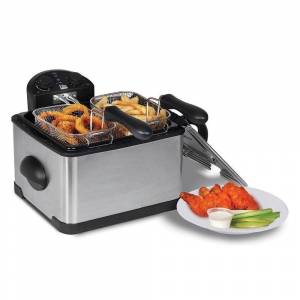 Elite Platinum EDF-401T 4-Quart Dual Basket Deep Fryer (Stainless Steel - Manual - Deep Fryer)