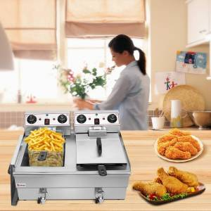 LivEditor Stainless Steel Faucet Double Cylinder Electric Fryer 3000W MAX (Silver)