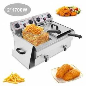 Overstock 24.9QT 3400W MAX Electric Deep Fryer Dual Tanks Stainless Steel w/ Timer and Drain French Fry (24.9QT)