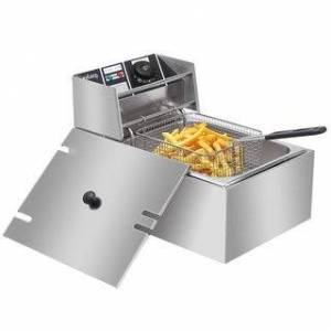 Overstock 6.3QT/12.7QT Stainless Steel Single/Double Cylinder Electric Fryer Tabletop Restaurant Frying Basket(2500W/5000W) (6.3QT)