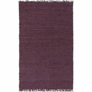 Overstock Hand-Woven Iowa Solid Jute Area Rug (4' x 6' - Purple)
