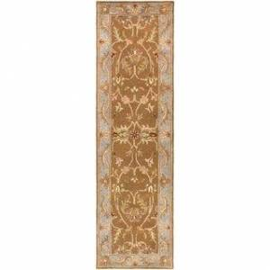 "Overstock Hand-Tufted Amber Bordered Traditional Wool Rug (2'3"" x 12' Runner - Brown/Blue)"