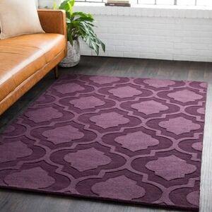 Overstock Hand-Woven Ali Tone-on-Tone Moroccan Trellis Wool Rug (2' x 3' - Purple)
