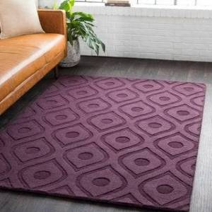 Overstock Hand-Woven Abi Tone-on-Tone Wool Rug - 6' (Purple - 6' Round)