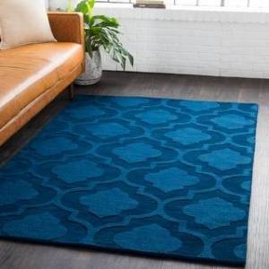 "Overstock Hand-Woven Ali Tone-on-Tone Moroccan Trellis Wool Rug (7'9"" Round - Navy)"