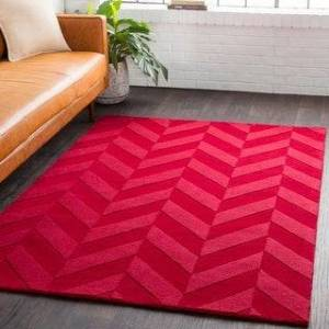 Overstock Hand-Woven Ann Tone-on-Tone Zig-Zag Wool Rug (6' Round - Red)
