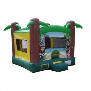 JumpOrange Safari Inflatable Bounce House, Commercial PVC Vinyl, with Blower (Tropical Color Theme Bounce House ( 13 X 13 Feet))