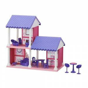 """American Plastic Toys Fashion Doll Cozy Cottage, Purple (PINK IN COLOR-37"""" WIDE X 24"""" HIGH)"""