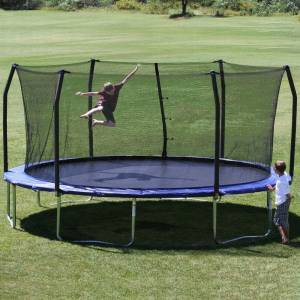 Skywalker Trampolines Blue 17-foot Oval Trampoline with Enclosure (8-11 Years)