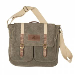 Cathy's Concepts Personalized Men's Olive Green Waxed Canvas and Leather Messenger Bag (L)
