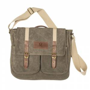 Cathy's Concepts Personalized Men's Olive Green Waxed Canvas and Leather Messenger Bag (F)