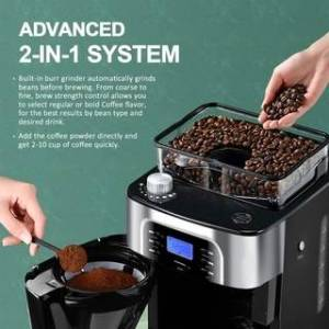 Overstock Grind and Brew automatic coffee machine 10 cup digital programmable drip coffee machine for kitchen and office, silver