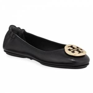 Tory Burch Women's Minnie Ballet with Logo - Black/Gold - Size:7.5