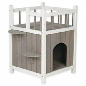 Trixie Wooden Pet Home with Balcony - Grey/White