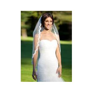 milanoo.com Tulle Wedding Veils One Tiered Lace Cut Edge Classic Shape Fingertip Veils With Comb(90*140cm)