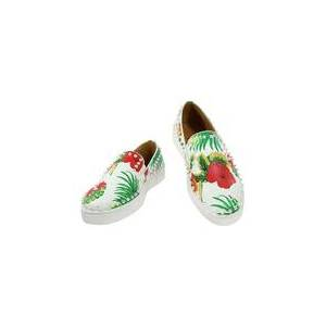milanoo.com Men's White Loafers Round Toe Floral Printed Rivets Slip On Flat Shoes