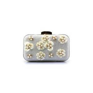 milanoo.com Silver Evening Handbags Glitter Pearl Flower Horizontal Mini Wedding Clutch Bags