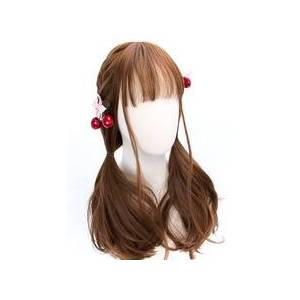 milanoo.com Classic Lolita Wigs Deep Brown Long Straight Blunt Bangs Curls At Ends Synthetic Hair Wigs