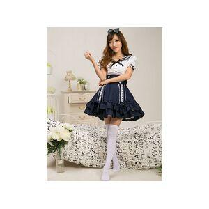 milanoo.com Sailor Style White Lolita Blouse Dark Blue Skirt Sets Short Sleeves Ruffles