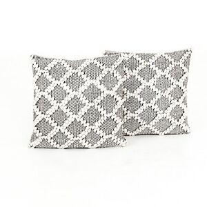 Four Hands Black & Cream Diamond Pillow, Set Of 2 - 100% Cotton - Four Hands