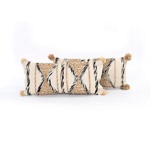 Four Hands Braided Pom Pom Pillow, Set Of 2 by Four Hands - 100% Cotton