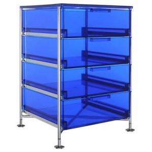 """Kartell Mobil 4-Drawer Container Cabinet - Blue - 27.5"""" h x 19.25"""" w x 18.75"""" d"""