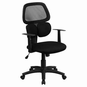 "Flash Furniture Mid-Back Black Mesh Office Chair with Flexible Dual Lumbar Support - 42.25"" h x 24.5"" w x 26"" d - Flash Furniture - FFBT-2755-BK-GG-BLACK-GG"