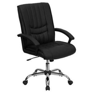 """Flash Furniture Mid-Back Leather Manager's Office Chair - Black - 43.25"""" h x 25.25"""" w x 24"""" d - Flash Furniture"""