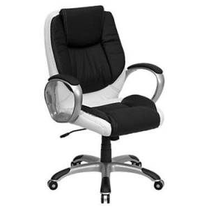 "Flash Furniture Mid-Back Black and White Leather Executive Swivel Office Chair - 42.5"" h x 28"" w x 28"" d - Flash Furniture - FFCH-CX0217M-GG-BLACKANDWHITE"