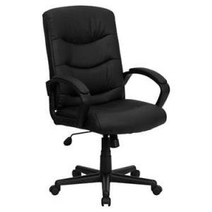 """Flash Furniture Mid-Back Black Leather Office Chair with Arms - 44.75"""" h x 26.5"""" w x 27.5"""" d - Flash Furniture - FFGO-977-1-BK-LEA-GG-BLACK"""