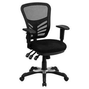 """Flash Furniture Mid-Back Black Mesh Office Chair with Paddle Control - 43"""" h x 25.75"""" w x 27.5"""" d - Flash Furniture - FFHL-0001-GG-BLACK"""
