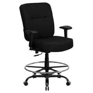 "Flash Furniture Hercules Big & Tall Black Fabric Drafting Stool with Arms Office Chair - 51"" h x 28.5"" w x 30.5"" d - Metal - Flash Furniture"