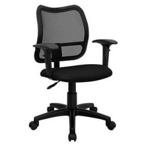 """Flash Furniture Mid-Back Mesh Task Office Chair with Arms - Black - 38"""" h x 22"""" w x 22"""" d - Flash Furniture"""