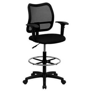 """Flash Furniture Mid-Back Mesh Drafting Stool with Fabric Seat and Arms Office Chair - Black - 45.25"""" h x 22"""" w x 22"""" d - Flash Furniture"""