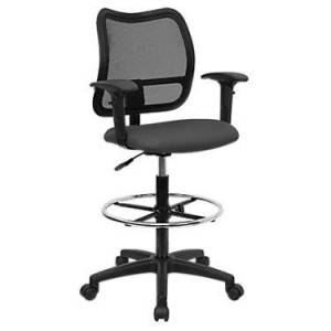 """Flash Furniture Mid-Back Mesh Drafting Stool with Fabric Seat and Arms Office Chair - Grey - 45.25"""" h x 22"""" w x 22"""" d - Flash Furniture"""
