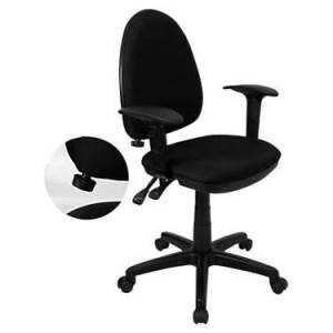 """Flash Furniture Mid-Back Fabric Multi-Functional Task Office Chair with Arms - Black - 39.5"""" h x 22"""" w x 22"""" d - Flash Furniture"""