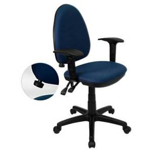 """Flash Furniture Mid-Back Fabric Multi-Functional Task Office Chair with Arms - Blue - 39.5"""" h x 22"""" w x 22"""" d - Flash Furniture"""