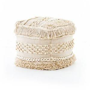 Four Hands Braided Fringe Pouf Stool by Four Hands - 100% Cotton
