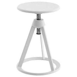 """Knoll Authentic Knoll Piton Adjustable-Height Stool - White - 22"""" h x 14.25"""" w x 14.25"""" d - Steel - KNBO11C-WHTT-WHTT"""